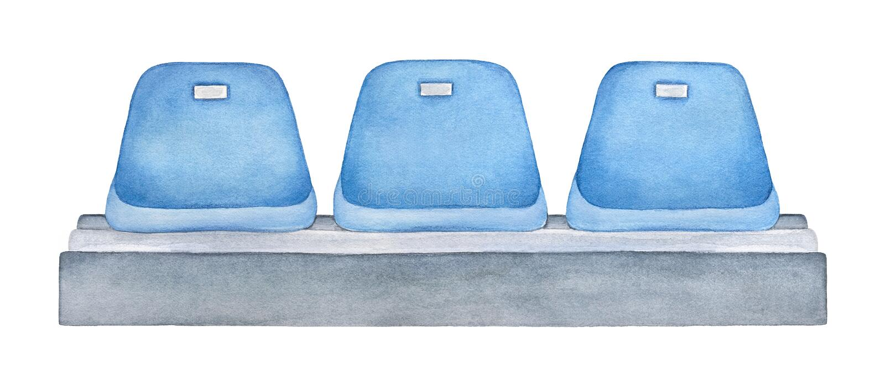 Blåa platser på stadion eller arenan för öppna dörrar vektor illustrationer