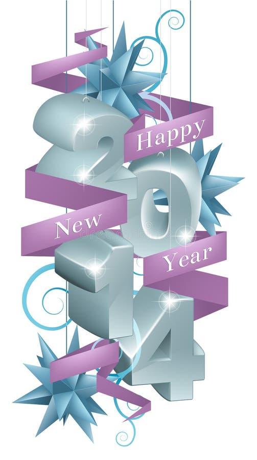 Blåa prydnader för lyckligt nytt år 2014 vektor illustrationer