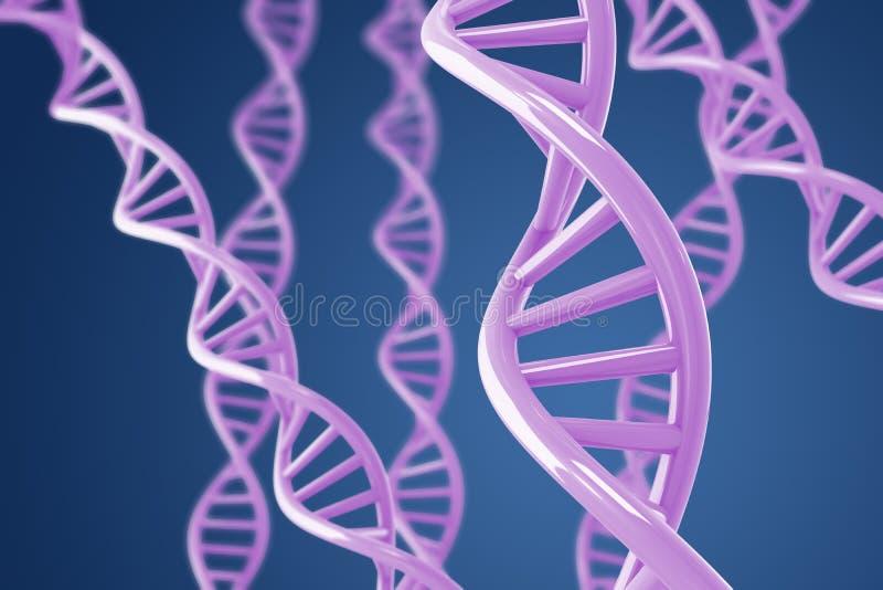 blåa purpura dna-spiraler för bakgrund royaltyfri illustrationer