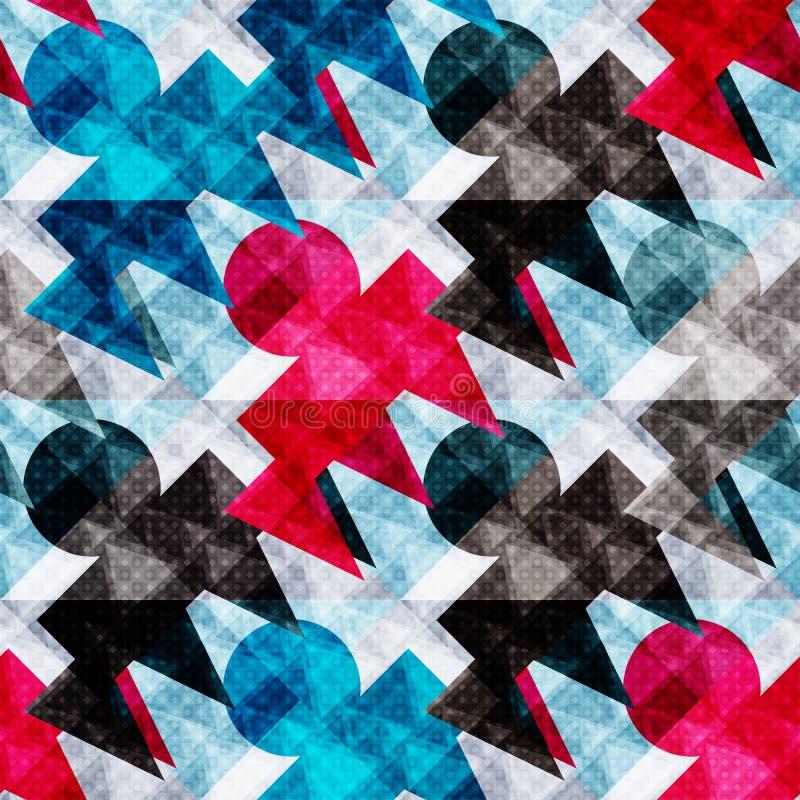 Blåa röda och svarta polygoner på en geometrisk sömlös modell för ljust bakgrundsabstrakt begrepp vektor illustrationer