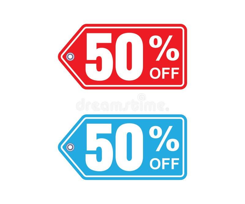 Blåa rabattklistermärkear som är röda och stock illustrationer