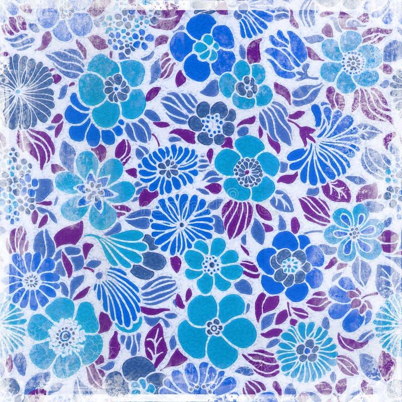 Blåa retro blommor vektor illustrationer