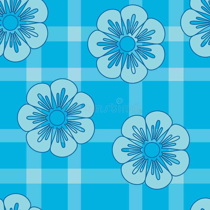 Blåa retro blommor på plädet stock illustrationer