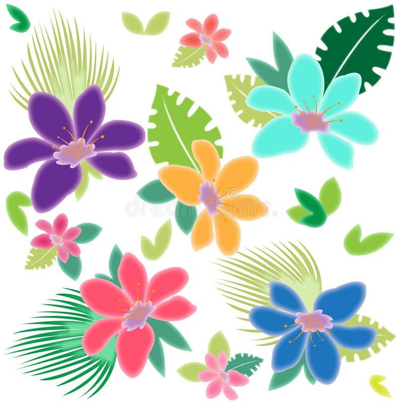 Blåa rosa orange tropiska blommasidor stock illustrationer