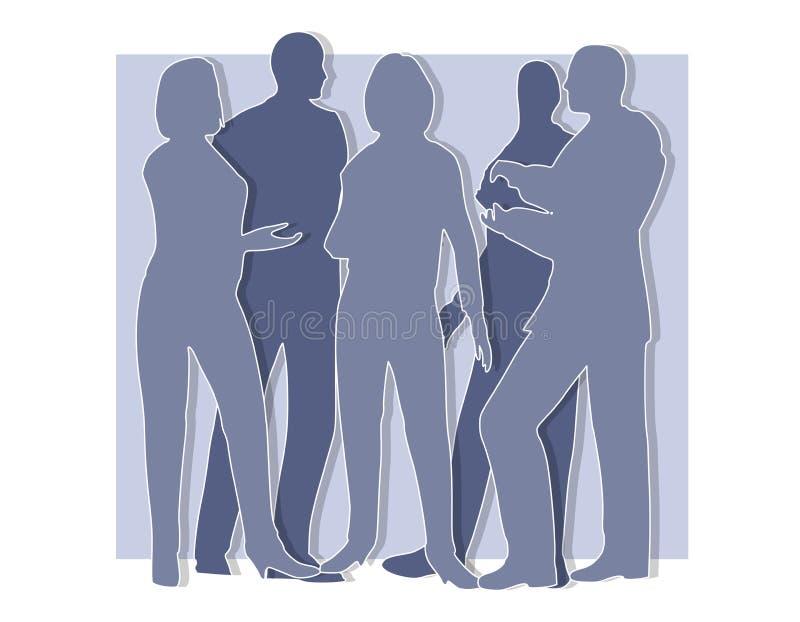 blåa samarbetssilhouettes vektor illustrationer