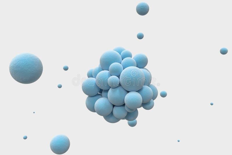 Blåa sfärer med den texturerade yttersidan, slumpmässigt fördelat, tolkning 3d stock illustrationer