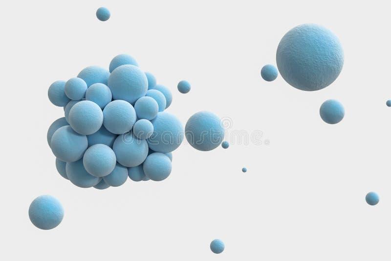 Blåa sfärer med den texturerade yttersidan, slumpmässigt fördelat, tolkning 3d royaltyfri illustrationer