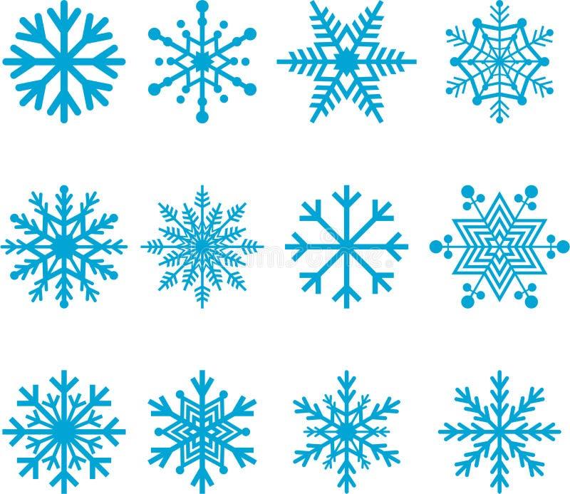 Blåa snöflingor royaltyfri illustrationer