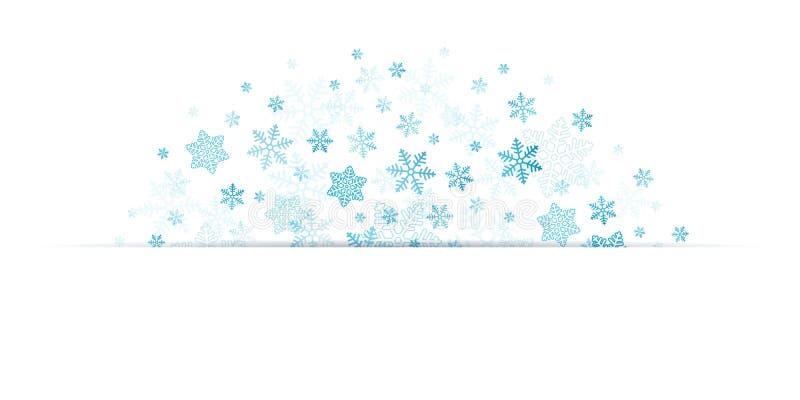 Blåa snöflingor för halv cirkel med banret bland stock illustrationer