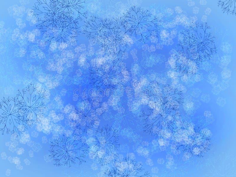blåa snowflakes royaltyfri illustrationer