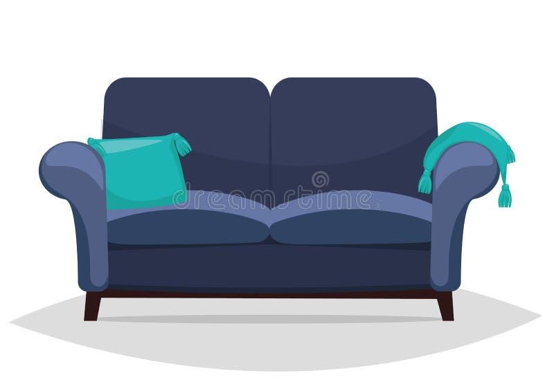 Blåa soffa och kuddar royaltyfri illustrationer