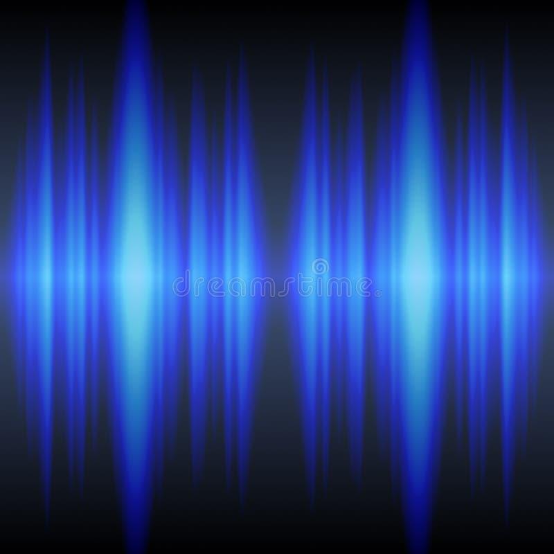 blåa sound waves royaltyfri illustrationer