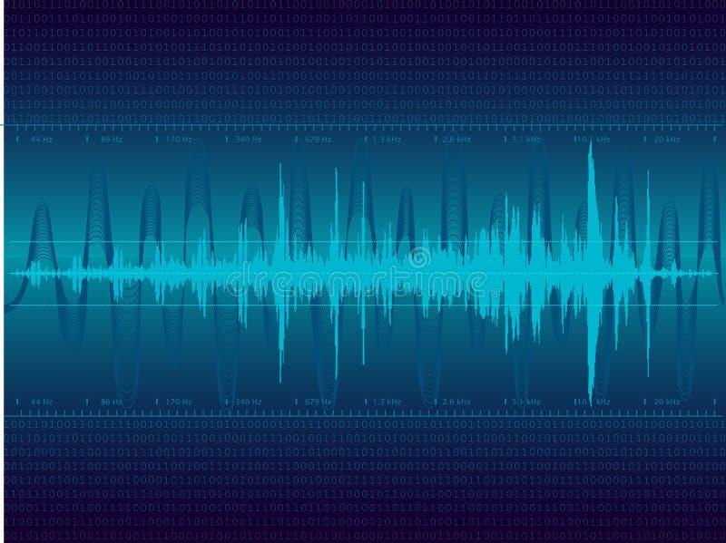 blåa sound waves stock illustrationer