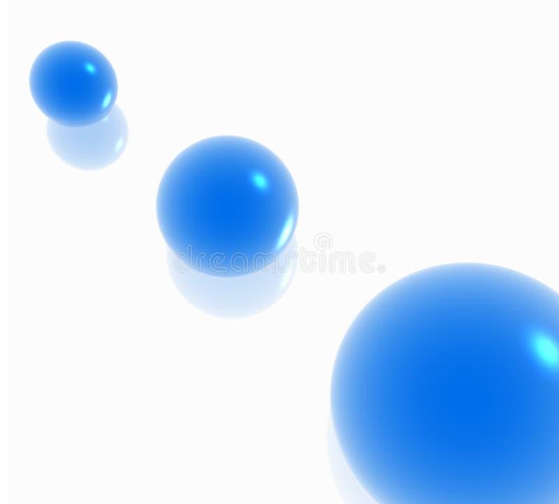 blåa spheres tre vektor illustrationer