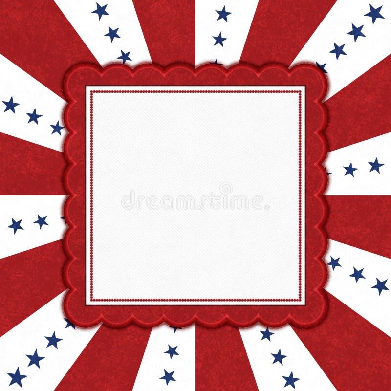 Blåa stjärnor med röda och vita bristningslinjer gräns med kopieringsutrymme royaltyfri illustrationer