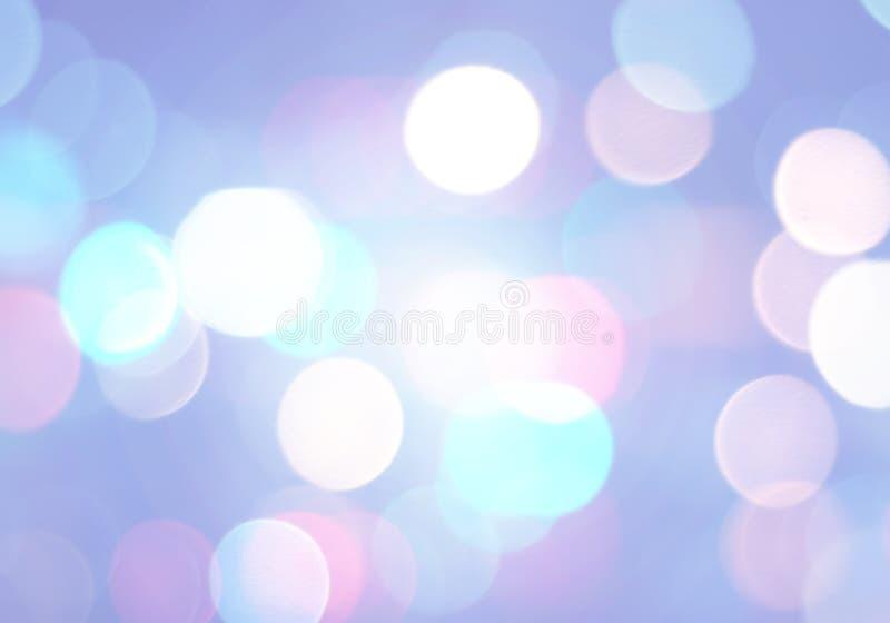 Blåa suddiga cirklar för bakgrund för bokeh vita och rosa, abstrakt begrepp royaltyfri illustrationer