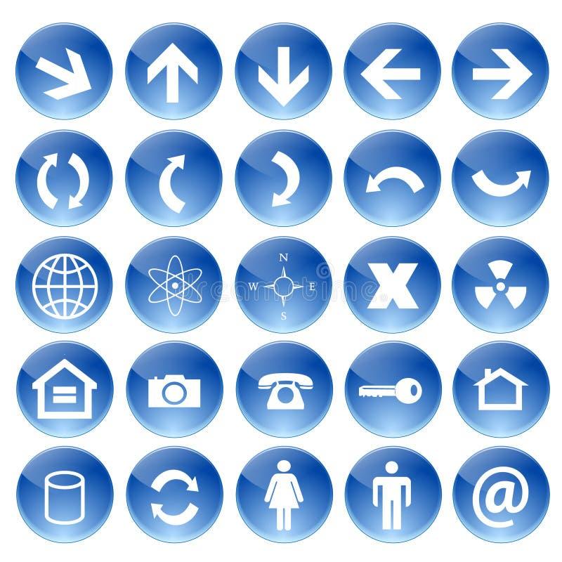 blåa symboler ställde in vektorrengöringsduk stock illustrationer