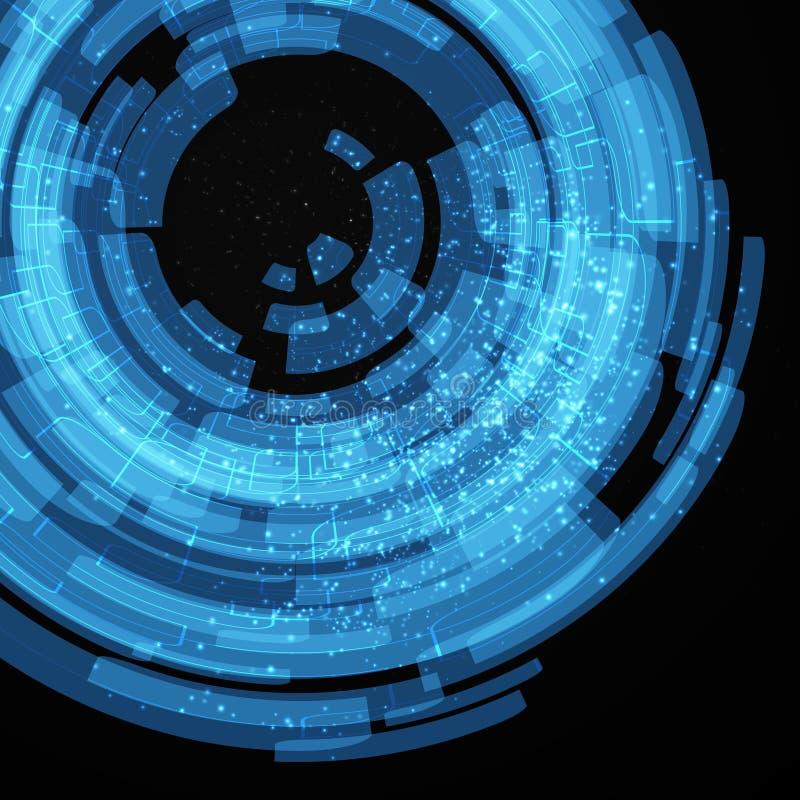 Blåa teknologibeståndsdelar stock illustrationer