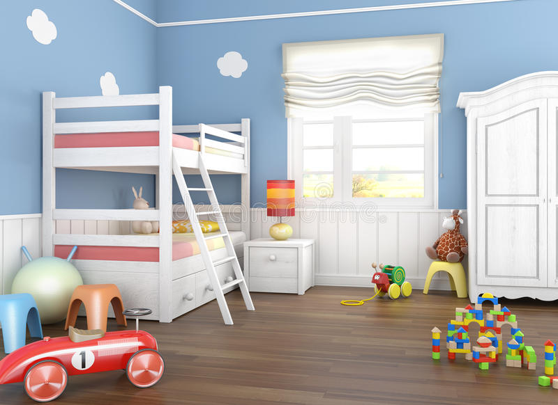 blåa toys för barnlokal s stock illustrationer