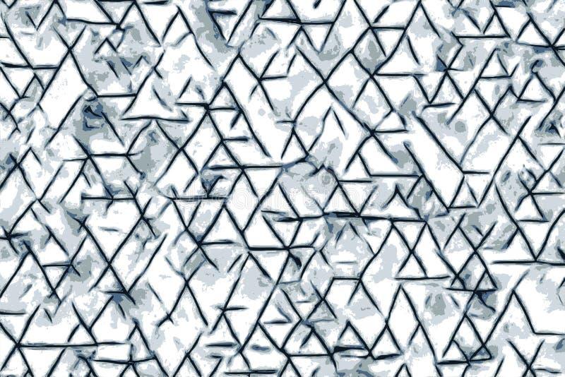 Blåa triangelformer och abstrakta teckningar för en bakgrund stock illustrationer
