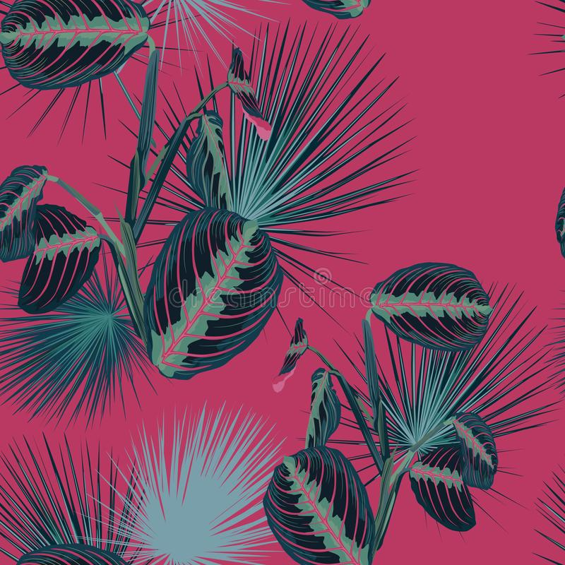 Blåa tropiska sidor med djungelväxter Tropiska modeller för sömlös vektor stock illustrationer