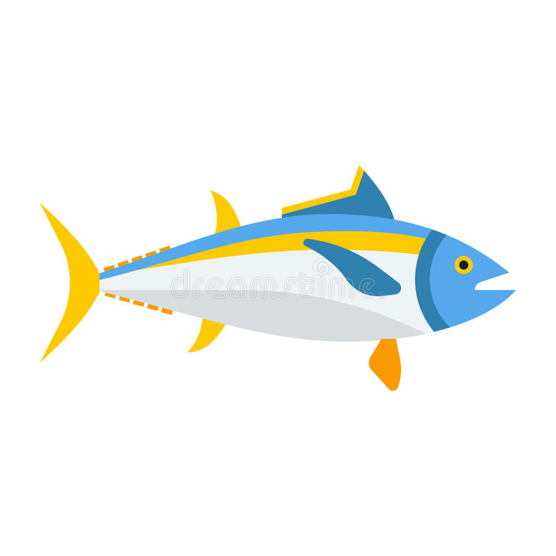 Blåa Tuna Fish Icon vektor illustrationer