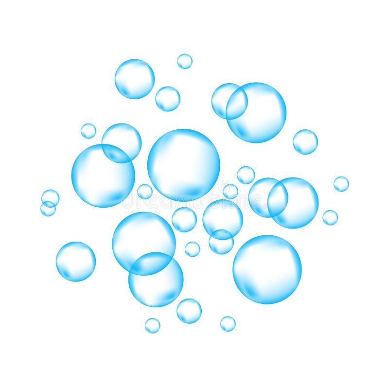 Blåa undervattens- väsa luftbubblor på vit bakgrund royaltyfri illustrationer