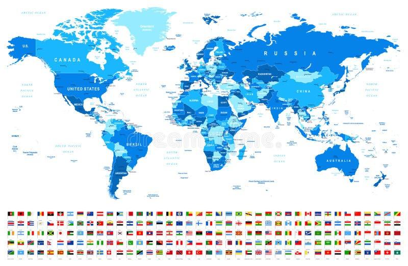 Blåa världskarta och flaggor - gränser, länder och städer - illustration royaltyfri illustrationer