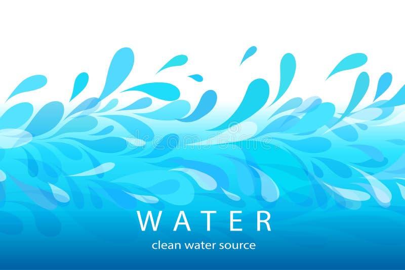 Blåa vågor och droppar på en ljus bakgrund royaltyfri illustrationer