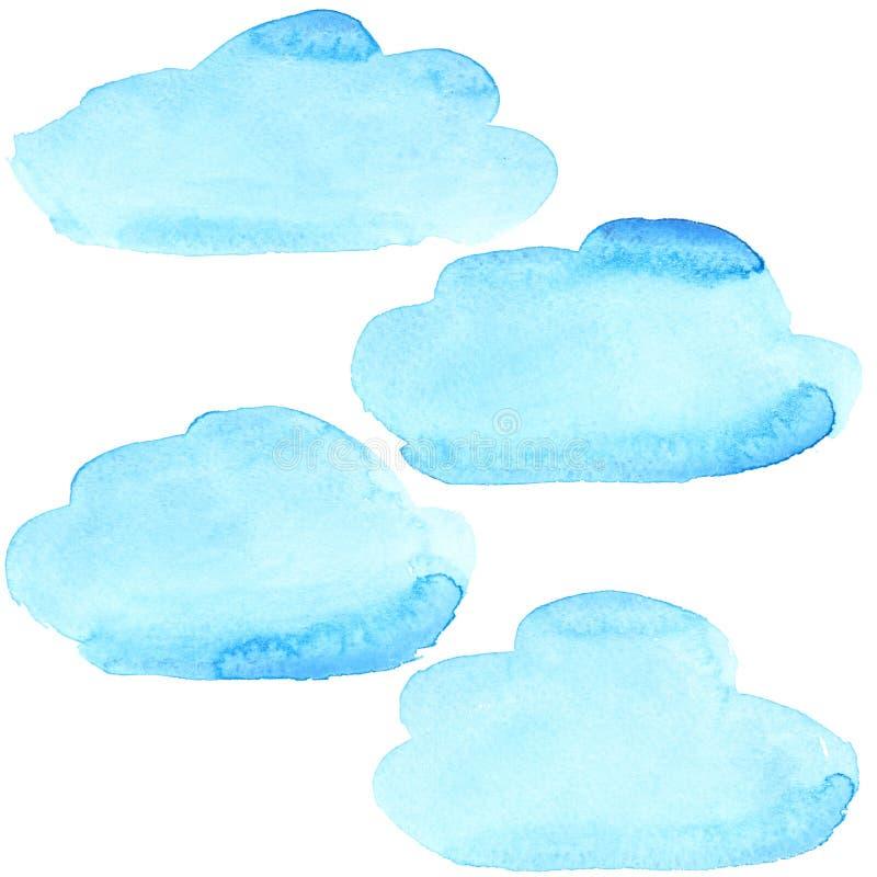 Blåa vattenfärgmoln stock illustrationer
