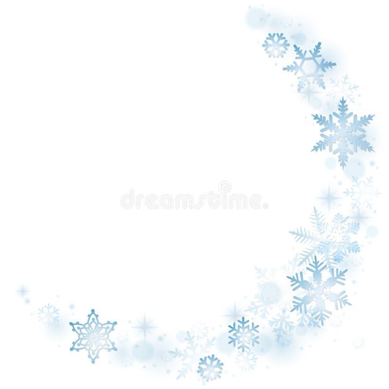 Blåa vintersnöflingor stock illustrationer