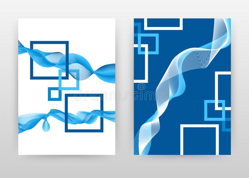 Blåa vita ramar med vinkade linjer planlägger för årsrapporten, broschyren, reklambladet, affisch Vinkande fodrad bakgrundsvektor vektor illustrationer