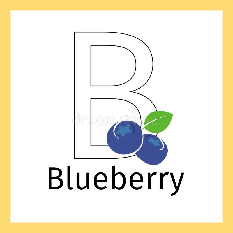 Blåbär och färgläggningsida för bokstav B royaltyfri illustrationer