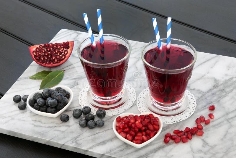 Blåbär och granatäpple Juice Drink royaltyfri foto