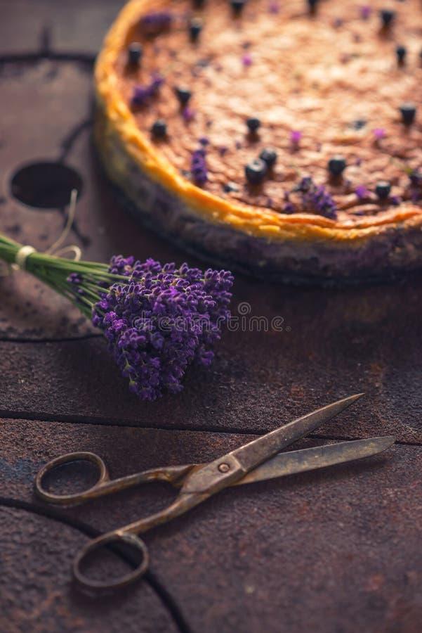 Blåbär och lavanderostkaka tjänade som på ugnen med bär och blommor, stilleben för bakelser, sund kaka royaltyfria foton