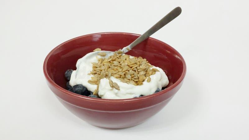 Blåbär, yoghurt och solrosfrö arkivfoton