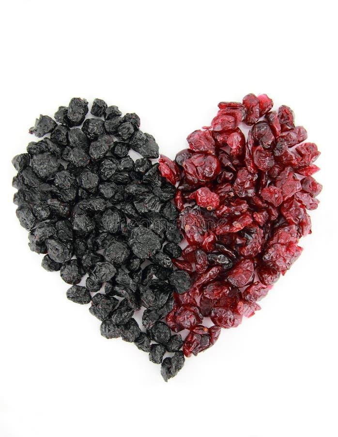 blåbärcranberries torkade hjärta royaltyfri fotografi