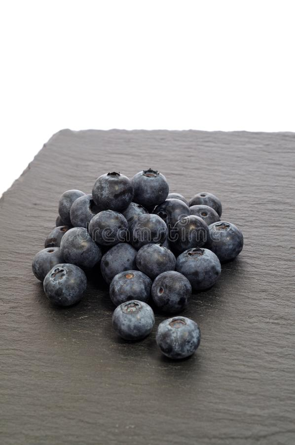 Blåbäret på svart kritiserar plattan, lodlinje royaltyfri bild