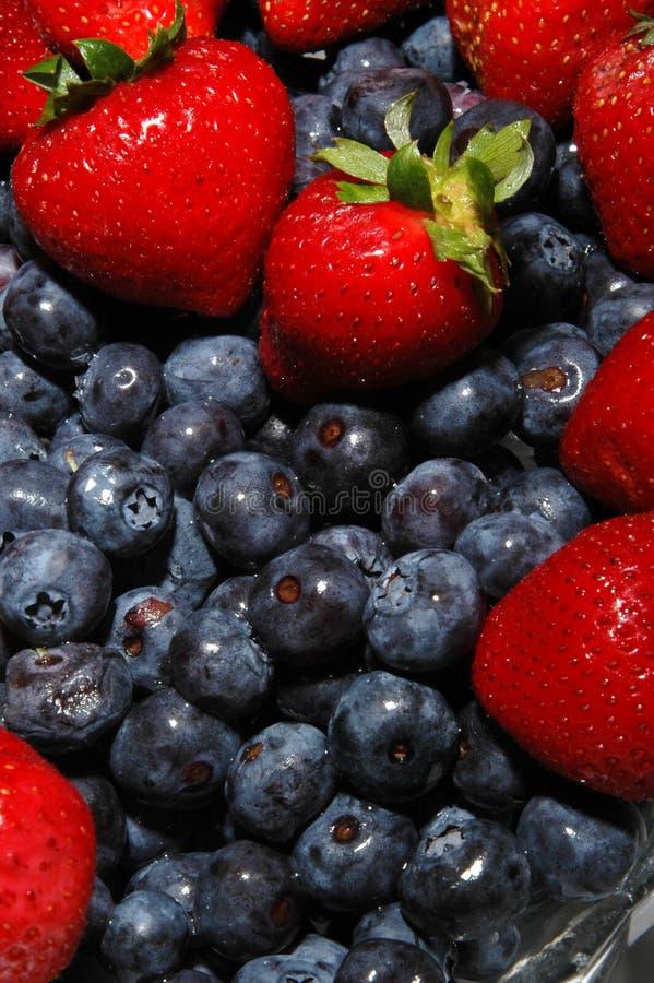blåbärjordgubbar arkivfoto