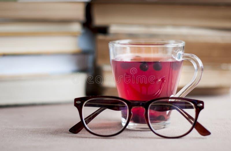 Blåbärte i ett glass lock med glasögon arkivbild