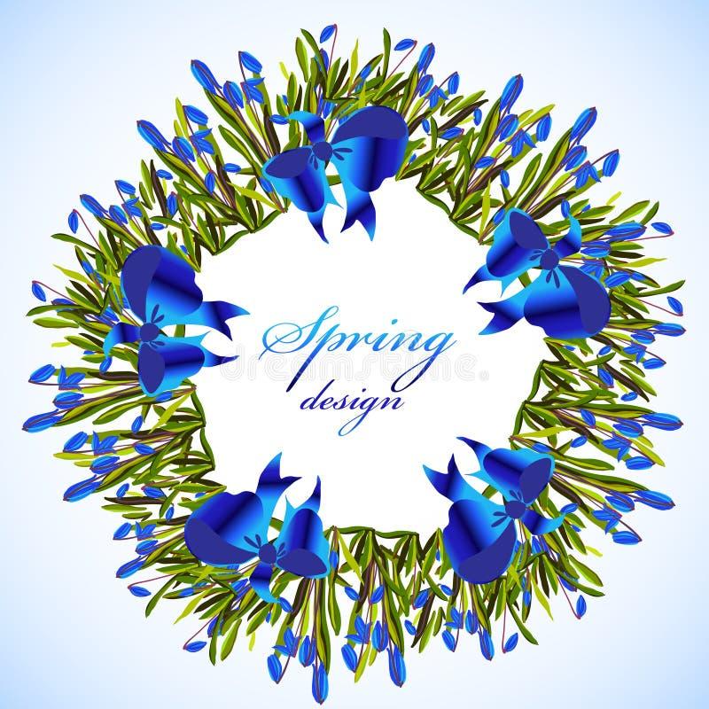 Blåklockan blommar kransen royaltyfri illustrationer