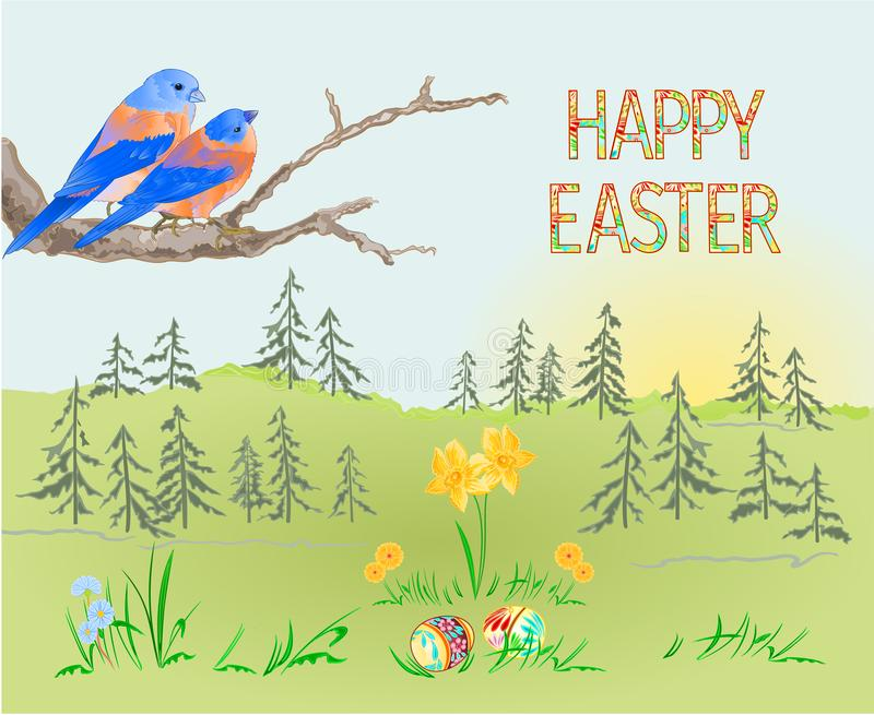 Blåsångare för skog och för fåglar för påskvårlandskap och easter ägg i gräset med editabl för illustration för pingstliljatappni vektor illustrationer