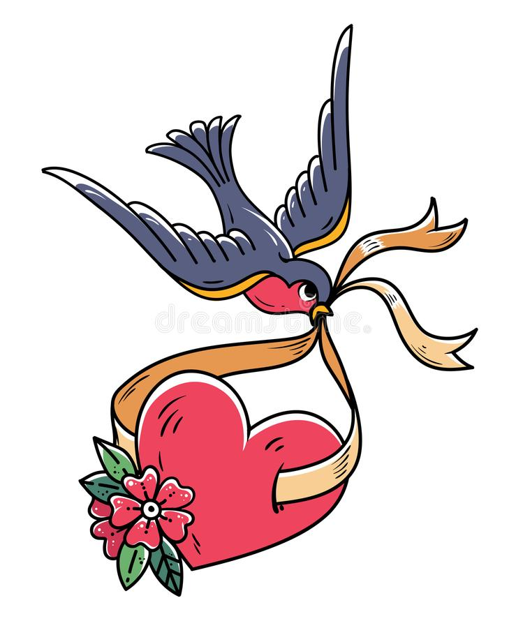 Blåsångaren bär över röd hjärta på band Tatueringhjärta med blommor och fågeln mot symbol för lycka för hästsko för bakgrundslutn royaltyfri illustrationer