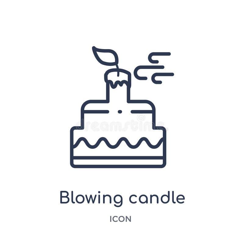 Blåsa stearinljussymbolen från partiöversiktssamling Tunn linje som blåser stearinljussymbolen som isoleras på vit bakgrund royaltyfri illustrationer
