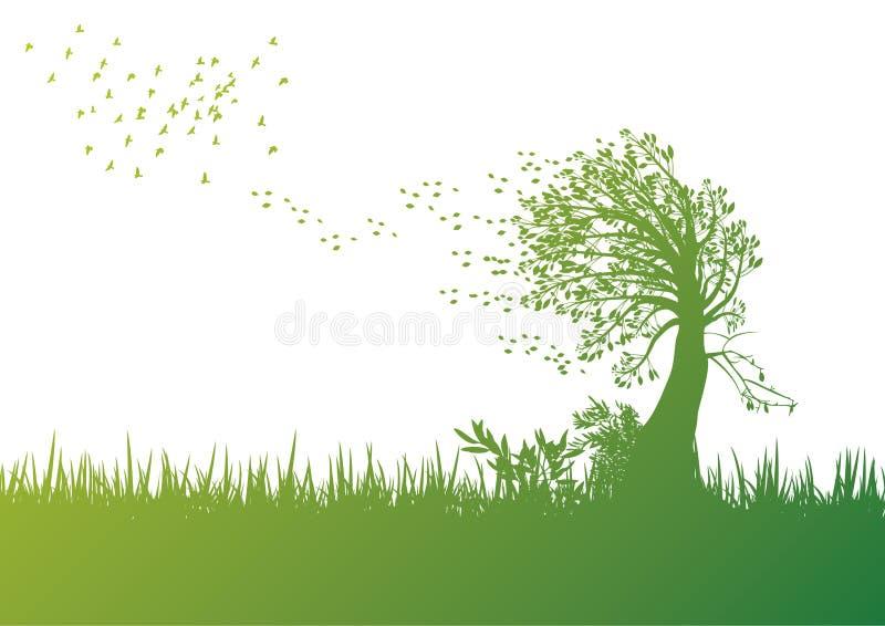 blåsig tree stock illustrationer