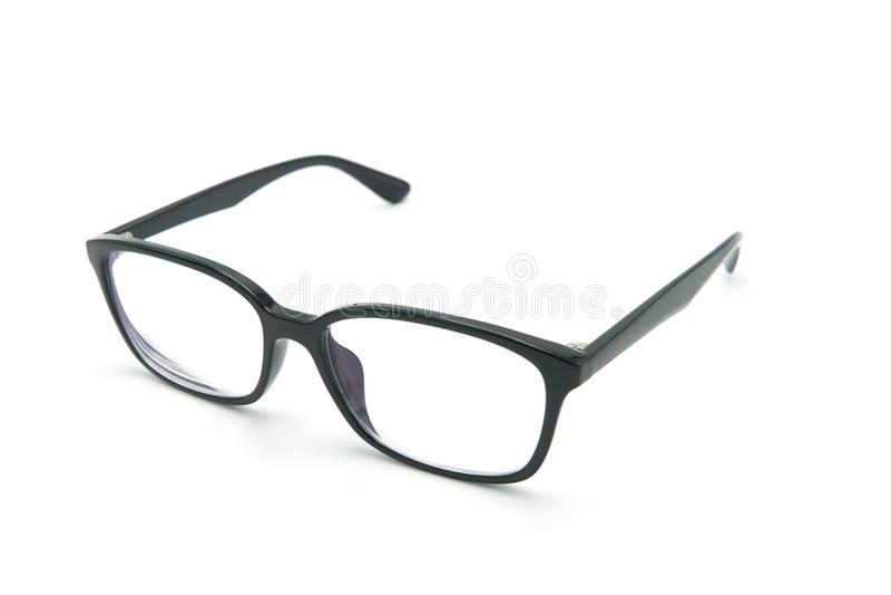 Blåtiraexponeringsglasanblickar med den skinande svarta ramen för läs- dagligt liv till en person med visuell försämring Vit bakg royaltyfri bild