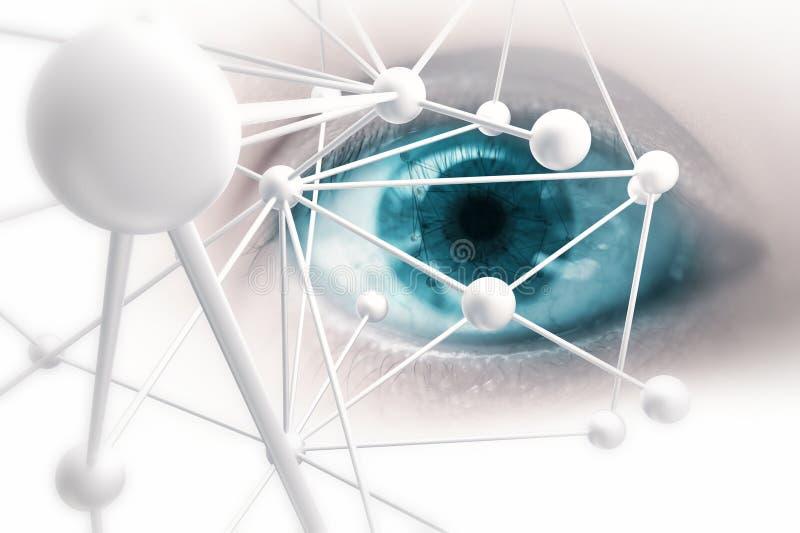 Blått öga som beskådar digital information royaltyfri illustrationer
