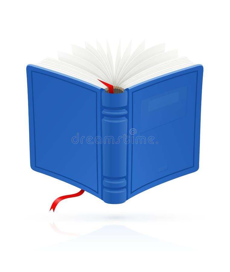 Blått öppnar boken med den röda bokmärkevektorn vektor illustrationer