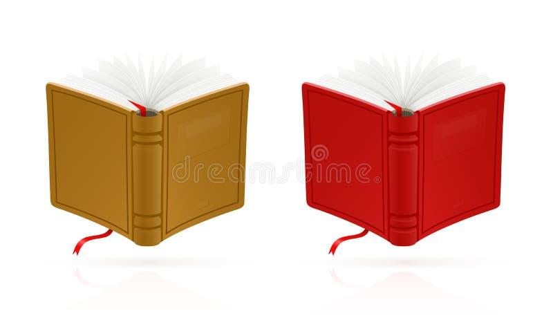 Blått öppnar boken med den röda bokmärkevektorn royaltyfri illustrationer