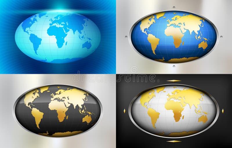 Blått abstrakt bakgrund för metall med jordklotet royaltyfri illustrationer